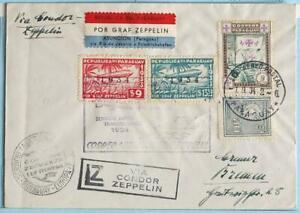 PARAGUAY to BRAZIL to GERMANY 1934 ZEPPELIN, Airship 7th SAF FlightAirmail Cover