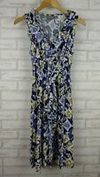 Sussan A-Line Dress Blue, Green print Sleeveless V-Neck Sz 8