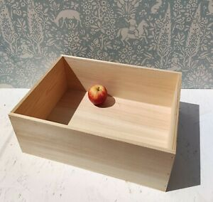 Handmade wooden crate storage unit bread box natural eco pyrography wood wedding