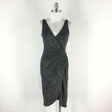 New Maggy London S 4 Black Silver Formal Evening dress Twist Midi Sheath