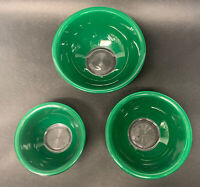 Set (3) Vintage PYREX Forest Green Clear Bottom NESTING Mixing BOWLS 322 323 325