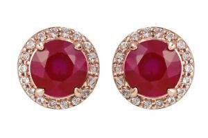 10k Rose Gold Genuine Round Ruby and White Topaz Halo Earrings