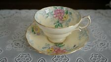 VINTAGE Hammersley & Co. Pale Yellow Floral Footed Cup & Saucer 3392, England