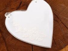 Herz Holz Holzherz weiß Dekoration Hochzeit mit Ornament groß Dekohänger NEU