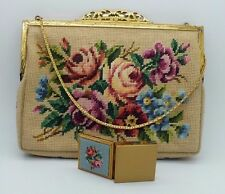 Jolles Original Austrian Micro Petit Point Embroidered Roses Purse Bag Pill Box