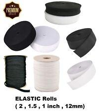 20mm PREMIUM QUALITY Woven Elastic White or Black Full 25 Metre Roll of 2cm