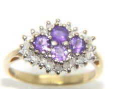 Women's / Ladies 9ct 9carat yellow gold diamond & amethyst ring. UK Size L