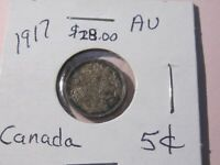 1917 Canada 5 Cent Silver Nickel - Almost Uncirculated Cond - Lot# AW-13