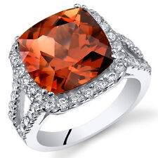 7.50Ct Cushion Padparadscha Sapphire Sterling Silver Ring SR11098 Sizes 5 to 9