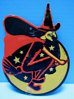 """VINTAGE 1940's  EMBOSSED WITCH on BROOM by H.E. LUHRS  EMBOSSED """"MADE IN USA"""""""