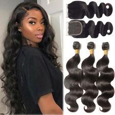Brazilian 3 Hair Bundles with 4*4 Lace Closure 8A Virgin Human Hair Weave THICK