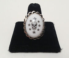 White Skull n Stars adjustable Ring by Lucky Loo Loo. New