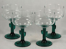New listing Mexican Style Margarita Glasses Green Cactus Stem Set of 4 Glasses