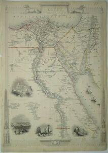 Antique map of Egypt by John Tallis 1851