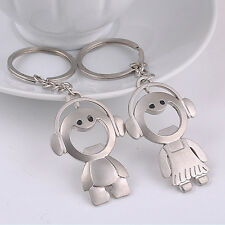 2Pcs Couple Key Chain Ring Boy&Girl Keychain  Keyring Set Bottle Opener Fad.