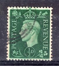 GB = G6 era, 1937 1/2d Dark Green. VFU with massive OFF-SET to reverse. SG462.