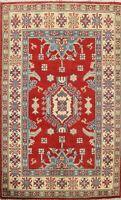RED Geometric Super Kazak Oriental Area Rug Hand-Knotted Wool Kitchen Carpet 3x4