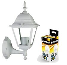 LED Outdoor Wall Lantern Outside Light Security Black or White 4 Sided Exterior