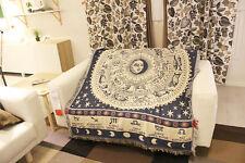 Sofa Rug Throw Blanket Celestial Mediterranean White Constellation Zodiac Print