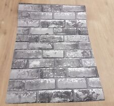 Rustic Taupe Grey Shimmer Brick Wall Effect Realistic Wallpaper Debona 6752