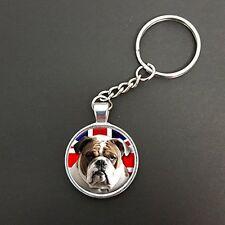 Bulldog Perro Colgante de Unión Jack en un anillo de Split Keyring Ideal Cumpleaños Regalo N339