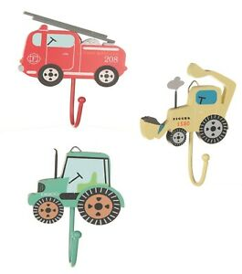 Sass & Belle Children's Kids Boys Bedroom Hooks Fire Engine Tractor Digger Door