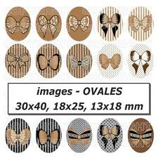 60 Images digitales cabochons noeuds papillons MARRON 30X40 18x25 13x18 mm OVALE
