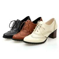 Women Block High Heel Dress Pumps Ladies Vintage Oxford Brogues Shoes Lace Up