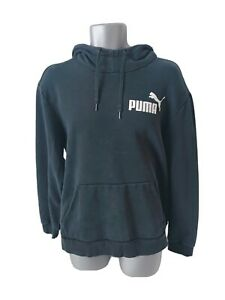 Mens PUMA Black Hoodie Pullover Sweater Spellout Small Graphic Logo Size XL