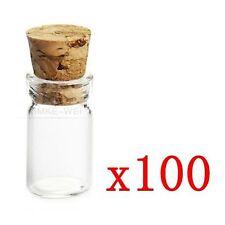 100x 1,5ml Mini Glasflaschen & Korken Wishing Glas Flasche Phiolen Jars 22x11mm