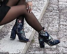 BLOGGERS FAV! ZARA EMBROIDERED DETAIL BLOCK HEEL ANKLE BOOTS, UK 4 / EUR 37.