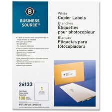 """Business Source Full Sheet Labels 8-1/2""""x11"""" 100/PK White 26133"""