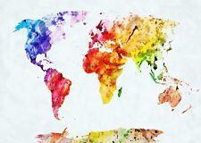 World Map Beautiful Watercolour Poster Art Print A0 A1 A2 A3 A4 A5 Maxi