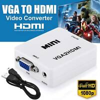 VGA to HDMI Full HD Video 1080P Audio Converter Box Adapter for PC Laptop TV DVD