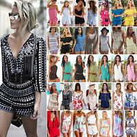 Women's Holiday Mini Playsuit Jumpsuit Shorts Dress Romper Summer Beach Sundress