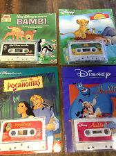 BRT Retro 80s 90s Disney Lot 4x Cassette Book Bambi Aladdin Lion king Pocahontas