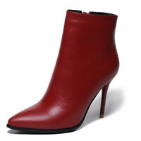 Elissara Women's Leather Zip High Heel Ankle Boots Pointed Toe Shoes AU Size 2-9