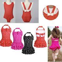 Baby Girls One Pieces Polka Dots Swimsuit Kids Ruched Tiered Swimwear Beachwear