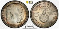 PCGS MS-63 THIRD REICH NAZI GERMANY SILVER 5 MARK 1939 -A (RAINBOW TONING!) #2