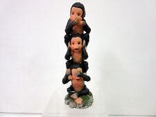 3 Evil Monkey Figurine 3 Monkies Tower See No Evil Hear No Evil Speak No Evil