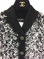CHANEL Black & White Furry Knit Cashmere-Blend Cardigan Jacket Size40/M