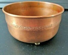 Vintage Hand Crafted Hammer Etched Small Copper Bowl On 3 Brass Ball Feet-Patina