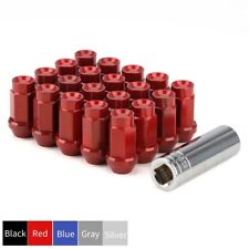 20 Red Aluminum M12x1.25 Racing Wheel Lug Nuts Set + Key Tool for Nissan Rouge