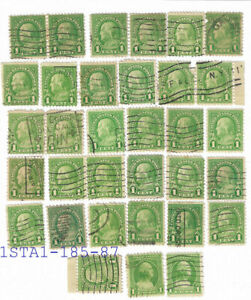 33x USA Ben Franklin One Cent Green Stamps . All in Excellent condition  sta-185