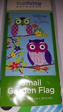 Garden Flag Colorful Owl Owls on Branch Welcome To My Garden 12x18 inch New