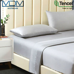 Tencel Ultra Soft BedSheets Lyocell Breathable Cooling Queen Bed Set Silver Grey