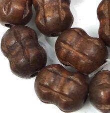 "19x14mm Coconut Brown Wood Carved Peanut / Drum barrel Beads 15"""