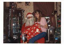 Vintage Photo Pretty Young Woman Sitting On Santa's Lap, Christmas, 1990's, jun