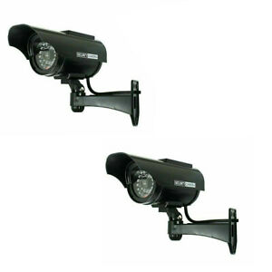 2 Pack Solar Power Fake Dummy Surveillance Security Camera CCTV & Record Light