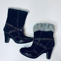 Jambu Tyra Boots Womens Sz 8.5 Black Suede Leather Winter Faux Fur Lining